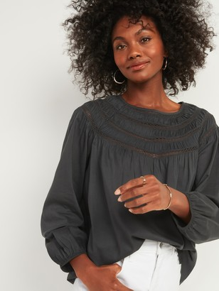 Old Navy Oversized Ladder-Lace Yoke Blouse for Women