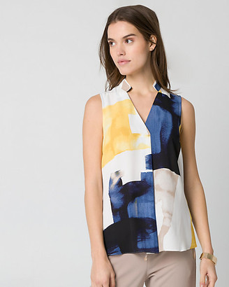 Le Château Abstract Print Crepe de Chine Blouse