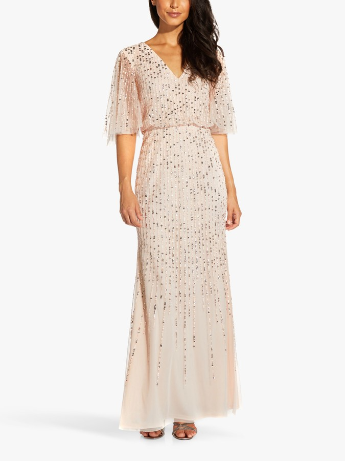 Adrianna Papell Blouson Embellished Maxi Gown, Flaxen