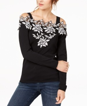 INC International Concepts Inc Applique Cold-Shoulder Sweater, Created for Macy's