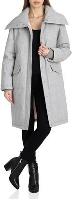 AVEC LES FILLES Women's Menswear Mid Length Puffer Coat