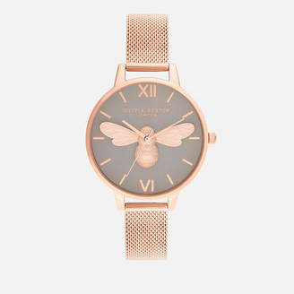 Olivia Burton Women's Lucky Bee Mesh Watch - Rose Gold