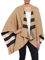 Burberry Charlotte Check-To-Solid Wool Cape, Camel