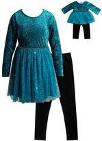 Dollie & Me Girls 4-14 Velvet Dress & Leggings Set