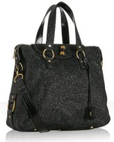 black crackled patent leather 'Rive Gauche' bag