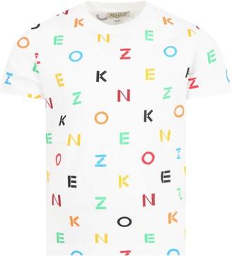 Kenzo Kids White T-shirt For Kids With Logos