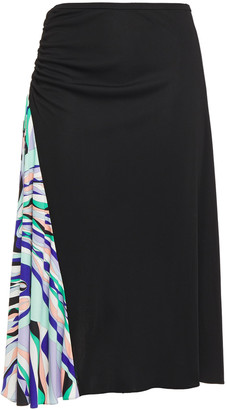 Emilio Pucci Ruched Paneled Printed Stretch-jersey Skirt