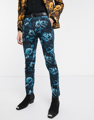 Twisted Tailor super skinny suit pants with floral print in blue
