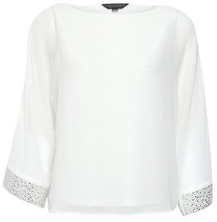 Dorothy Perkins Womens Ivory Embellished Cuff Batwing Top, Ivory