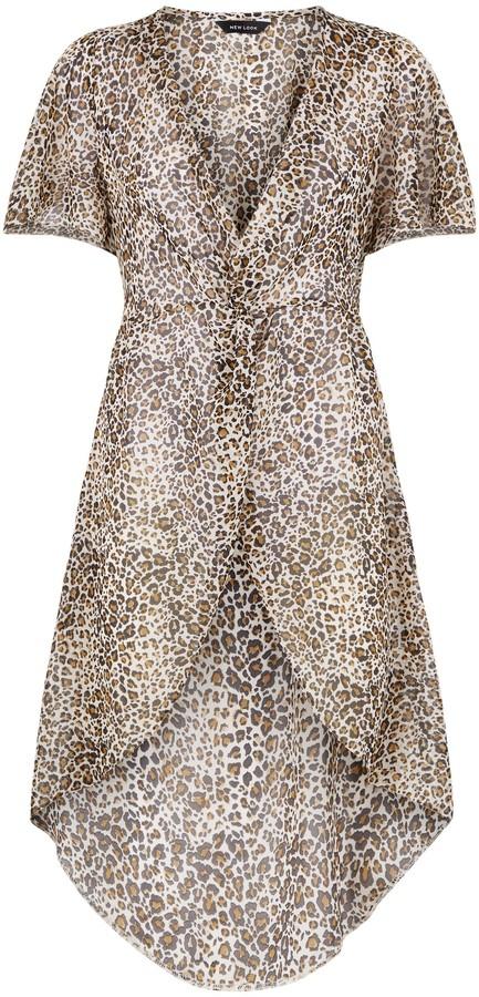 Thumbnail for your product : New Look Leopard Print Chiffon Kimono