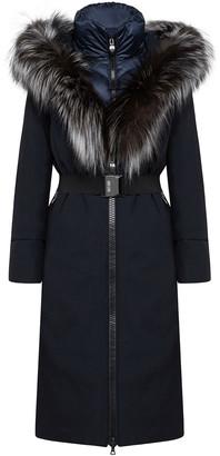 Post Card Davai Long Fur-Trim Coat