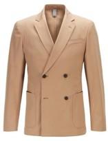 HUGO BOSS - Double Breasted Slim Fit Jacket In Stretch Cotton Gabardine - Beige