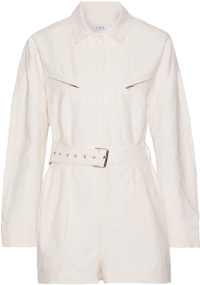 IRO Infosi Belted Linen And Cotton-blend Playsuit