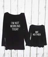 Beary Basics Women's Tee Shirts GRAY - Black 'Not Working' Long-Sleeve Tee - Toddler, Girls, Women & Plus