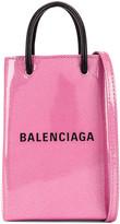 Balenciaga Glitter Shopping Phone on Strap Bag in Old Rose | FWRD