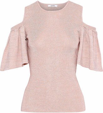 Ganni Romilly Cold-shoulder Metallic Stretch-knit Top