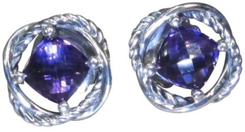 David Yurman 925 Sterling Silver Amethyst Infinity Stud Earrings