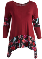 Glam Red & Black Floral-Accent Sidetail Tunic - Plus