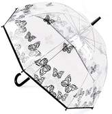 """Drizzles Women's Clear Dome Umbrella With Butterfly Print Design 31"""" Diameter"""