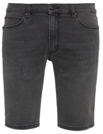 HUGO BOSS Slim Fit Shorts In Black Black Stretch Denim - Dark Grey