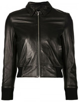 R 13 cropped leather jacket