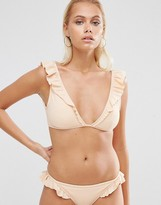 Asos Plunge V Frill Crop Bikini Top