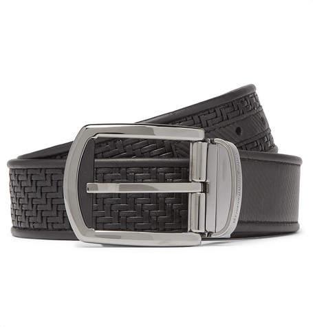 Ermenegildo Zegna 3.5cm Black Reversible Pelle Tessuta Leather Belt