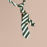 Burberry Slim Cut Striped Silk Cotton Tie, Green