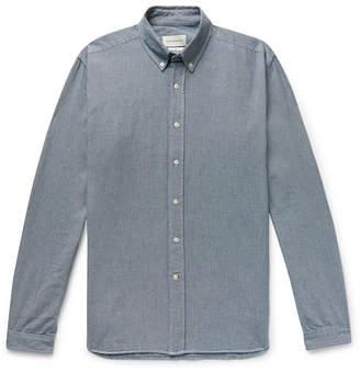 Oliver Spencer Brook Button-Down Collar Puppytooth Cotton Shirt