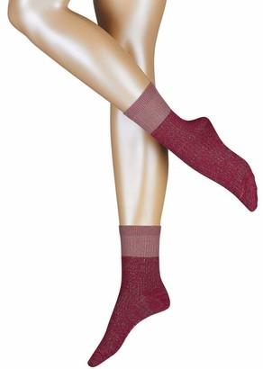 Esprit Womens Rib Block Socks - Garnet Red - Medium/Large