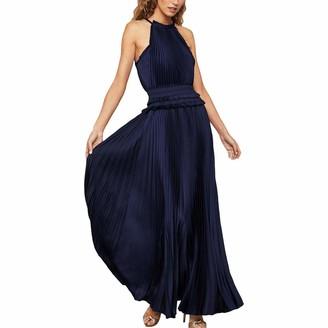 BCBGMAXAZRIA Women's Satin Plisse High-Neck Dress