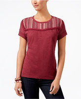 Style and Co Embroidered Short-Sleeve Top, Created for Macy's
