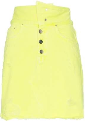 Amiri High-Waisted Distressed Denim Mini-Skirt