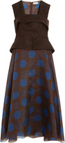 DELPOZO Printed organza and wool, silk and mohair-blend felt dress