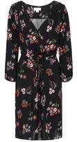 Velvet Floral wrap-effect dress