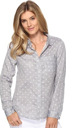 Dylan by True Grit Women's Organic Cotton Double Cloth Long Sleeve Dots Blouse