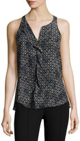 Rebecca Taylor Ruffle Sleeveless Silk Tank Top, Black