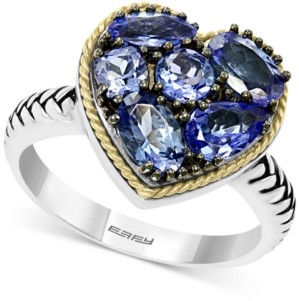 Effy Tanzanite Heart Ring (2-1/5 ct. t.w.) in Sterling Silver & 18k Gold over Silver