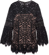 Lela Rose Corded Lace Top - Black