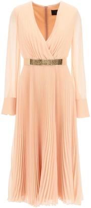 Max Mara PLEATED DRESS WITH BELT 44 Pink