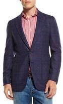 Isaia Boucle Plaid Two-Button Sport Coat, Navy