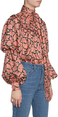 Marc Jacobs Runway) Paisley-Print Puffy-Sleeve Blouse