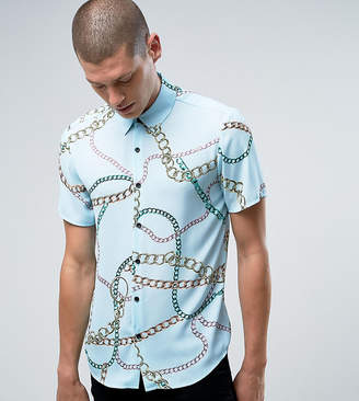 Reclaimed Vintage Inspired Shirt In Chain Print With Short Sleeves In Reg Fit-Blue