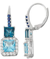 Fine Jewelry Genuine London Blue Topaz & Lab-Created Sapphire Sterling Silver Leverback Earrings