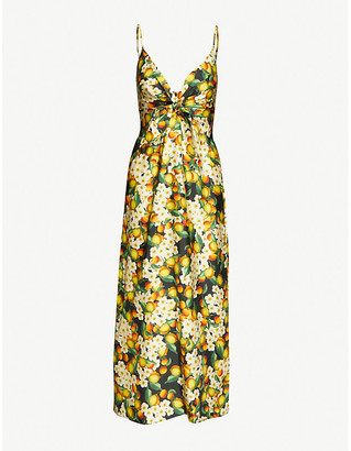 Borgo de Nor Citrus-print silk maxi dress