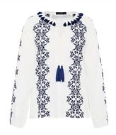 Hallhuber Ethnic blouse with cross-stitches