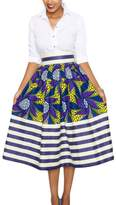 Annflat Women's African Print Casual A-Line Dress Pleated Midi Skirt