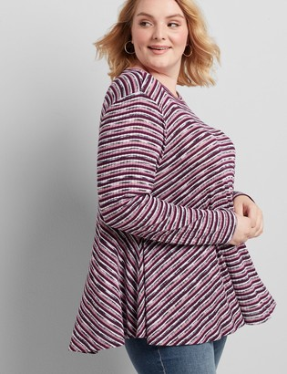 Lane Bryant Striped Ribbed Swing Tee