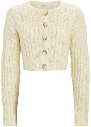 Anna October Cropped Cable Knit Cardigan