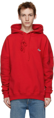 we11done Red Embroidered Logo Hoodie
